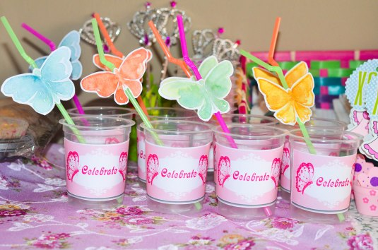 Finished product of my butterfly strawflags and plastic cup labels...